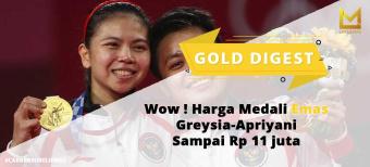 Wow ! Harga Medali Emas Greysia-Apriyani Sampai Rp 11 juta